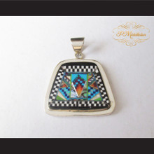 P Middleton Trapezoid Shape Pendant Sterling Silver .925 Micro Stone Inlay Design
