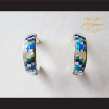 P Middleton Multi-Stone Inlay 3/4 Hoop Design Earrings Sterling Silver .925