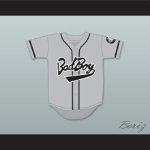 Biggie Smalls 10 Bad Boy Gray Baseball Jersey with 20 Years Patch
