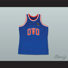 Drizzy 6 OVO Blue Basketball Jersey MSG NYC with Owl Patch