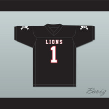 DJ Law 1 EMCC Lions Black Football Jersey Includes Patches