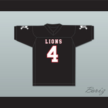 Wyatt Roberts 4 EMCC Lions Black Football Jersey Includes Patches