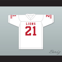 Ryan Lee 21 EMCC Lions White Football Jersey