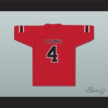 Wyatt Roberts 4 EMCC Lions Red Football Jersey
