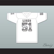 James Davis 51 EMCC Lions White Alternate Football Jersey