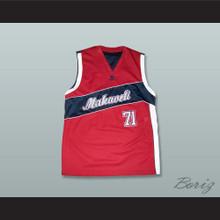 Tupac Shakur 71 Makaveli Red and Black Basketball Jersey