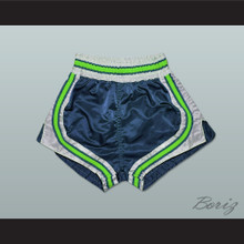 Dark Blue-Light Green-White Retro Style Basketball Shorts