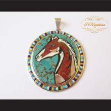P Middleton Oval Horse Pendant Sterling Silver .925 Micro Stone Inlays