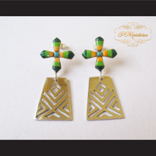 P Middleton Green Cross Earrings Sterling Silver .925