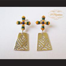 P Middleton Orange Cross Earrings Sterling Silver .925