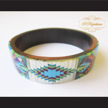P Middleton Camagong Wood Bangle Elaborate Micro Inlay Design