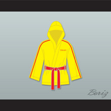 Ivan Drago Russia Yellow Satin Half Boxing Robe with Hood