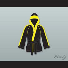 Rocky VI Black Satin Half Boxing Robe with Hood