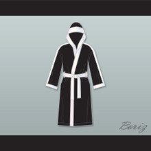 Clubber Lang World Heavyweight Champ Black Satin Full Boxing Robe with Hood