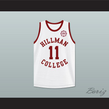 Walter Oakes 11 Hillman College White Basketball Jersey with Eagle Patch