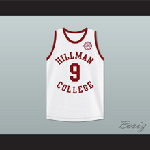 Dwayne Wayne 9 Hillman College White Basketball Jersey with Eagle Patch