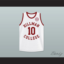 Ronald 'Ron' Johnson 10 Hillman College White Basketball Jersey with Eagle Patch