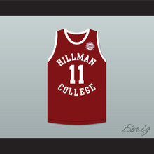 Coach Walter Oakes 11 Hillman College Maroon Basketball Jersey with Eagle Patch