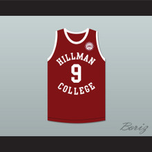 Dwayne Wayne 9 Hillman College Maroon Basketball Jersey with Eagle Patch