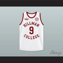 Dwayne Wayne 9 Hillman College White Basketball Jersey with Eagle Patch A Different World
