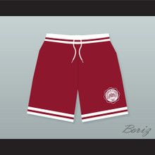 Hillman College Maroon Basketball Shorts with Eagle Patch