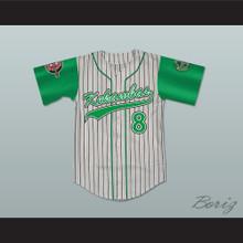 Kofi Evans 8 Kekambas Pinstriped Baseball Jersey with ARCHA and Duffy's Patches