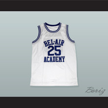 Carlton Banks 25 Bel-Air Academy White Basketball Jersey