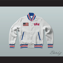 USA United States of America White Letterman Jacket-Style Sweatshirt