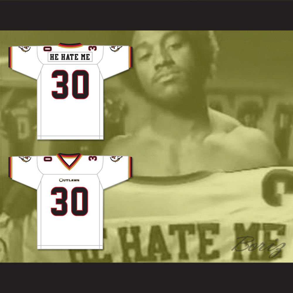d60e6487d45 Rod Smart 30  He Hate Me  Las Vegas Outlaws White Football Jersey. Price    62.99. Image 1. Larger   More Photos