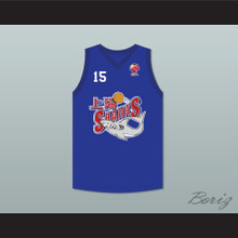 Yao Ming 15 Shanghai Sharks Blue Basketball Jersey with CBA Patch