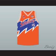 Yao Ming 15 Shanghai Sharks Orange Basketball Jersey with CBA & Sharks Patch