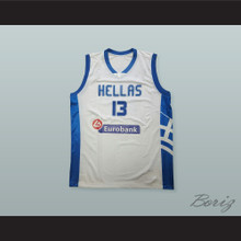 Giannis Antetokounmpo 13 Greece White Basketball Jersey