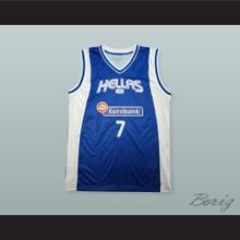 Vassilis Spanoulis 7 Greece Blue Basketball Jersey