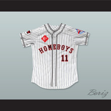 Pamela Anderson 11 Homeboys Pinstriped Baseball Jersey 6th Annual Rock N' Jock Softball Challenge 1995