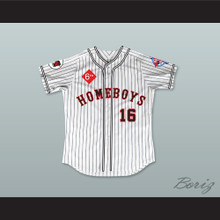 George Clooney 16 Homeboys Pinstriped Baseball Jersey 6th Annual Rock N' Jock Softball Challenge 1995