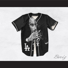 Tupac Shakur Makaveli 13 Los Angeles Black Baseball Jersey