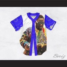 Biggie Smalls 69 White with Blue Bandana Sleeves Baseball Jersey