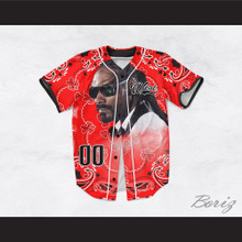 Snoop Dogg 00 Westside Red Bandana Design Baseball Jersey