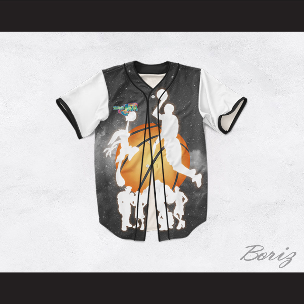 83d4ea2ee554 Space Jam 15 Silhouettes Design Baseball Jersey. Price   62.99. Image 1