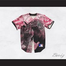 Tupac Shakur 13 Los Angeles Pink Camouflage Baseball Jersey