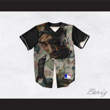 Tupac Shakur 13 New York Green Camouflage Baseball Jersey