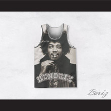 Jimi Hendrix 10 Black and White Portrait Basketball Jersey