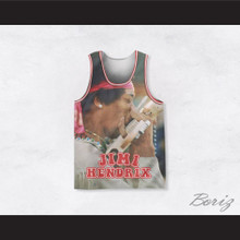 Jimi Hendrix 10 Playing Guitar with Mouth Basketball Jersey