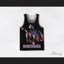 Jimi Hendrix 10 Guitar Solo American Flag Basketball Jersey
