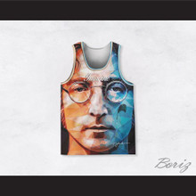 John Lennon 10 Imagine Geometric Design Portrait Basketball Jersey