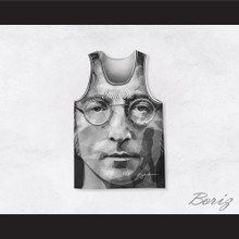 John Lennon 10 Imagine Black and White Geometric Design Portrait Basketball Jersey