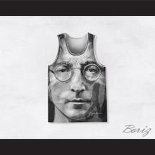 John Lennon 10 Imagine Black and White Geometric Design Portrait Basketball Jersey