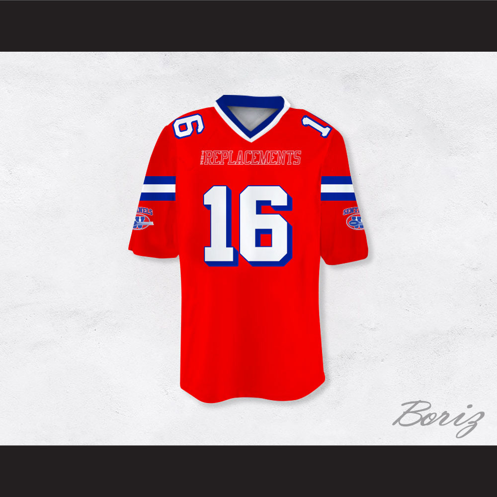 f0ee50d9300 Shane Falco 16 Sentinels Dye Sublimation Graphics Football Jersey The  Replacements. Price: $62.99. Image 1