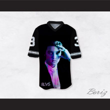 Elvis Presley 3 Dye Sublimation Graphics Black Football Jersey