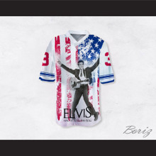 Elvis Presley 3 King of Rock N' Roll American Flag Football Jersey